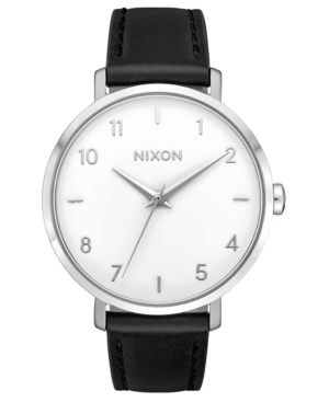 Nixon Watches MEN'S ARROW BLACK LEATHER STRAP WATCH 38MM