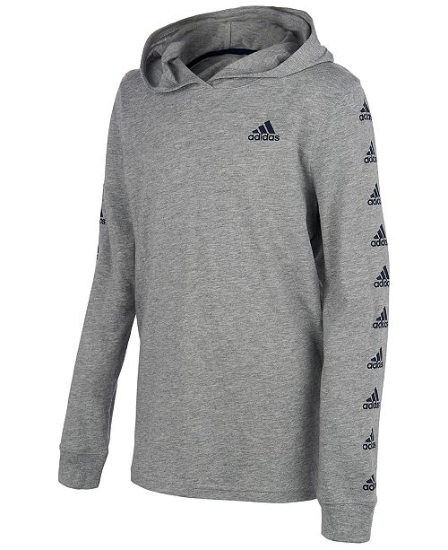 adidas Big Boys Heathered Logo Hooded T-Shirt