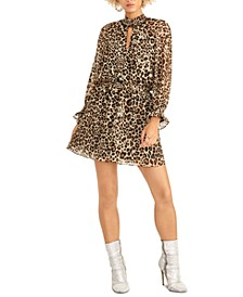 Leopard-Print Keyhole Dress