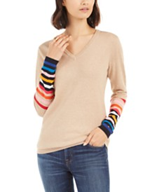 Tommy Hilfiger Ivy Cotton Rainbow-Sleeve Sweater, Created For Macy's