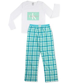 Calvin Klein Big Girls 2-Pc. Logo Fleece Pajamas Set