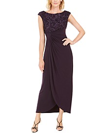 Soutache Faux-Wrap Gown