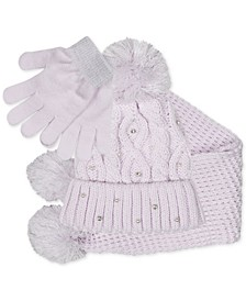 Big Girls 3-Pc. Sparkly Knit Hat, Scarf & Gloves Set