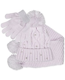 FAB Big Girls 3-Pc. Sparkly Knit Hat, Scarf & Gloves Set