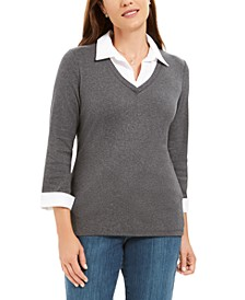 Petite Layered-Look Cotton Top, Created for Macy's