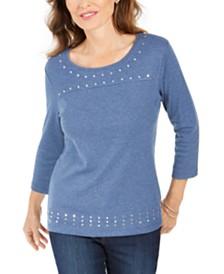 Karen Scott Scoop-Neck Studded Top, Created for Macy's