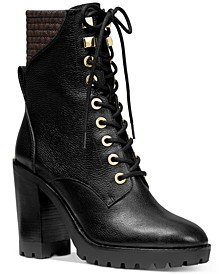 Bastian Leather Lace-Up Booties