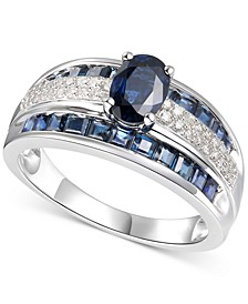 Sapphire (2-3/8 ct. t.w.) & Diamond (1/4 ct. t.w.) Ring in 14k White Gold