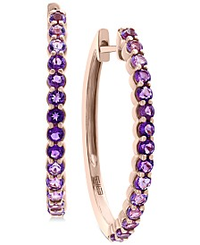 EFFY® Amethyst (3/4 ct. t.w.) Hoop Earrings in 14k Rose Gold