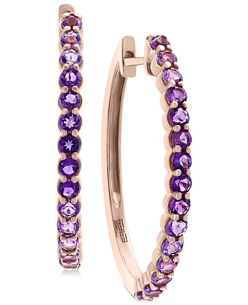 EFFY Collection EFFY® Amethyst (3/4 ct. t.w.) Hoop Earrings in 14k Rose Gold