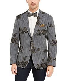 Men's Navy Melange Metallic Floral Dinner Jacket