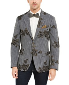 Tallia Men's Navy Melange Metallic Floral Dinner Jacket