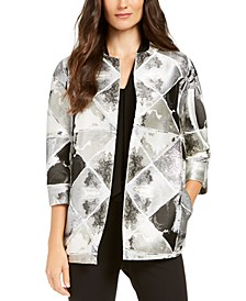 Metallic Open-Front Jacket