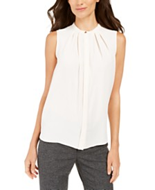 Anne Klein Pleated Sleeveless Blouse