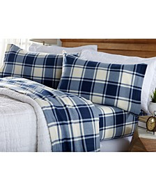 Great Bay Home Fleece Plaid Printed Twin Sheet Set