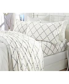 Great Bay Home Extra Soft Cozy Velvet Plush Printed Full Sheet Set
