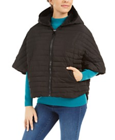 Steve Madden Hooded Puffer Zip-Front Poncho