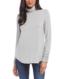 Shirred-Sleeve Turtleneck Top