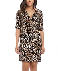 Leopard-Print Split-Neck Dress