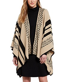 Striped Open-Front Poncho