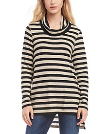 Striped Cowl-Neck Sweater