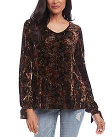 Burnout-Print Tie-Sleeve Blouse