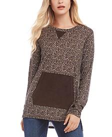 Leopard Print Faux-Suede Trim Sweater
