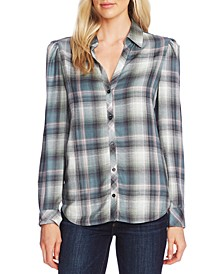 Plaid Puff-Shoulder Shirt