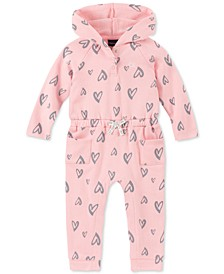 Baby Girls Heart-Print Hooded Coverall