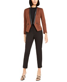 Bar III Faux-Suede Jacket, Mock-Neck Top, & Ponté-Knit Pants, Created For Macy's