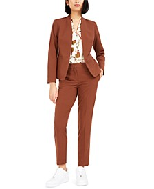 Collarless Jacket, Printed Blouse, & Straight-Leg Pants, Created For Macy's