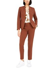 Bar III Collarless Jacket, Printed Blouse, & Straight-Leg Pants, Created For Macy's