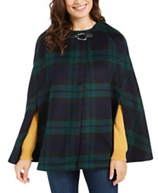 Lauren Ralph Lauren Plaid Bridle Cape