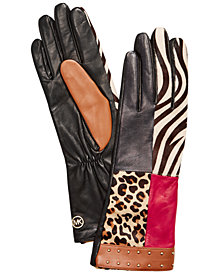 Michael Michael Kors Haircalf Patchwork Leather Gloves