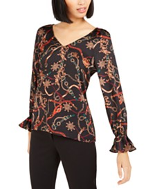 Bar III Printed V-Neck Top, Created For Macy's