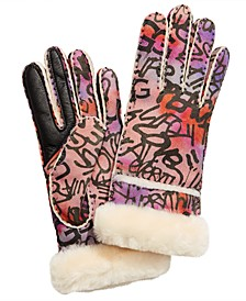 Graffiti Seamed Shearling Tech Gloves
