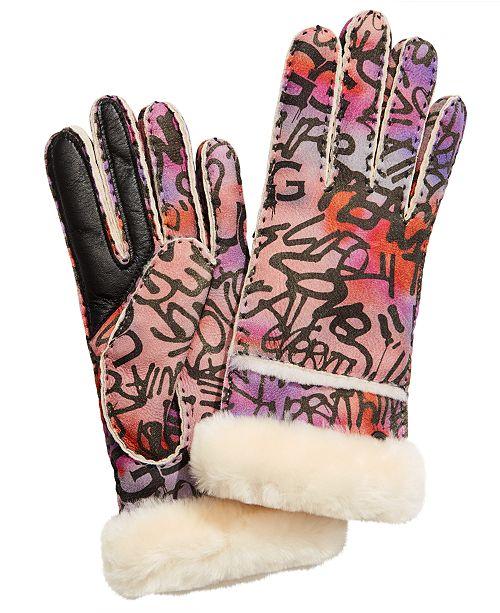 UGG® Graffiti Seamed Shearling Tech Gloves