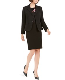 Nine West Textured Two-Button Jacket, Printed Blouse, & Skirt