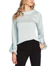 Vince Camuto Roll-Collar Ruffle-Sleeve Top