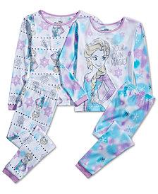 AME Little & Big Girls 4-Pc. Cotton Frozen Pajama Set