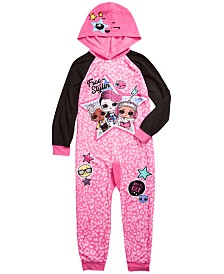 AME Little & Big Girls 1-Pc. L.O.L. Surprise Hooded Fleece Pajamas