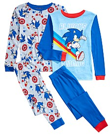 AME Little & Big Boys 4-Pc. Cotton Sonic Pajama Set