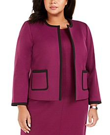 Plus Size Contrast-Trim Ponte Jacket