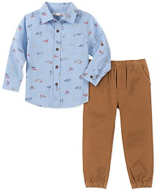 Kids Headquarters Little Boys 2-Pc. Airplane-Print Oxford Shirt & Twill Joggers Set