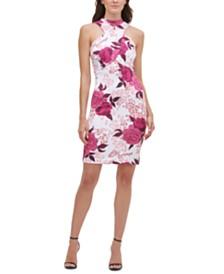 GUESS Floral-Print Cutout Scuba Dress