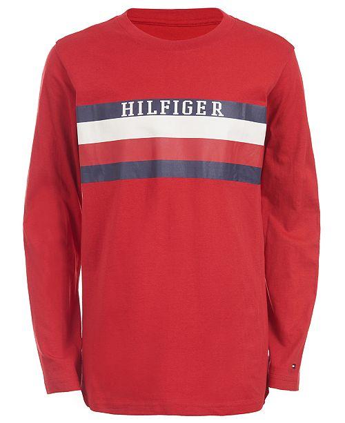 Tommy Hilfiger Big Boys Ron Stripe Logo T-Shirt