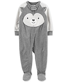Baby Boys 1-Pc. Animal-Face Fleece Footed Pajamas