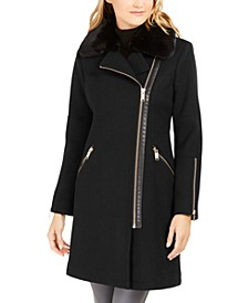 Petite Asymmetrical-Zip Coat With Faux-Fur Trim