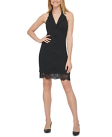 GUESS Tuxedo Lace-Trim Halter Dress