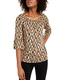 Printed Bell-Sleeve Peasant Blouse, Regular & Petite Sizes